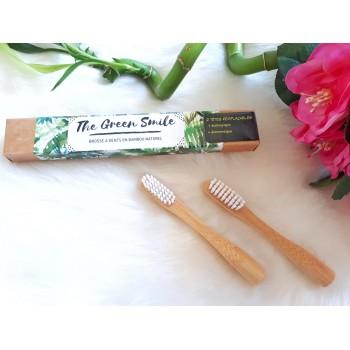 2 têtes en fibres medium blanches de rechange pour brosse à dent en bambou adulte