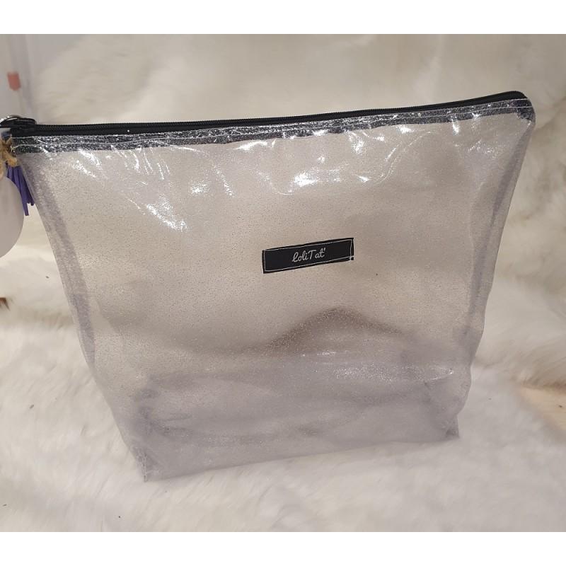 Trousse de toilette transparente avec paillettes fait main